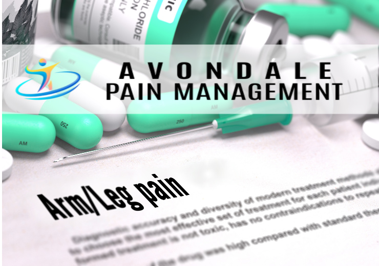 Picture of hypodermic and medication vial for arm/leg pain